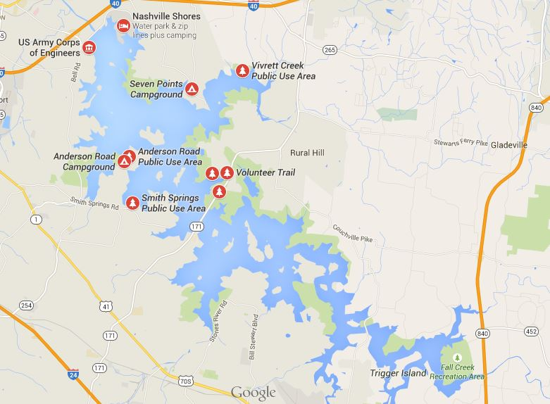 Map – Percy Priest Lake